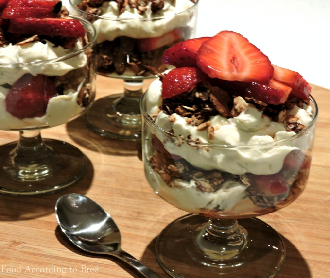 Carob Cranachan with Whisky Strawberries