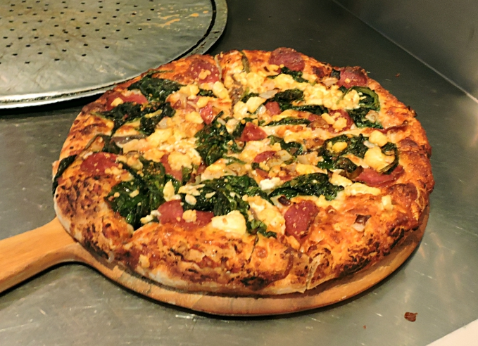 Pepperoni, Spinach and Anchovy pizza 2