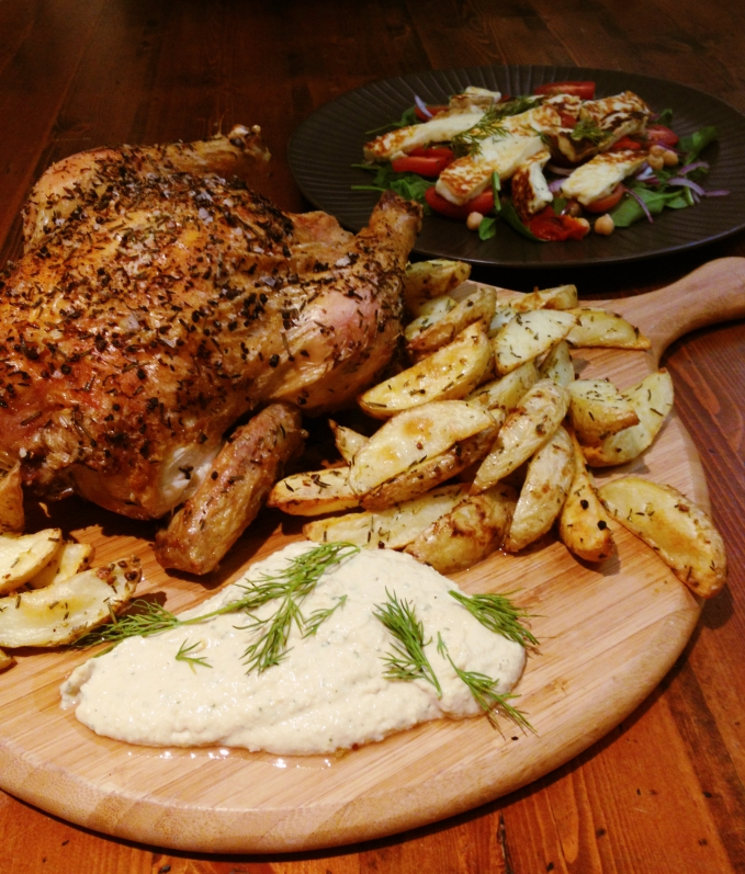 Herb roasted chook with haloumi salad and hummus 2