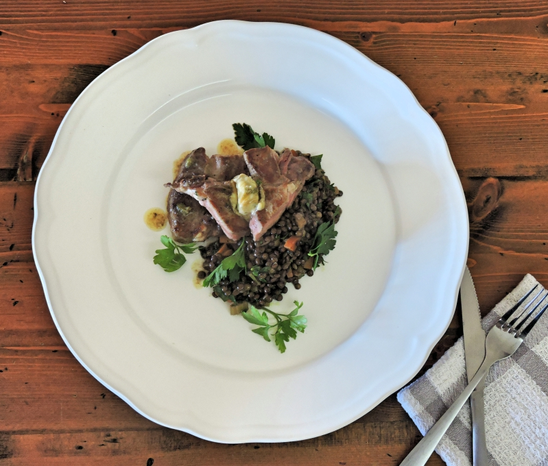 Alpaca Rump with French Lentils and Anchovy Butter