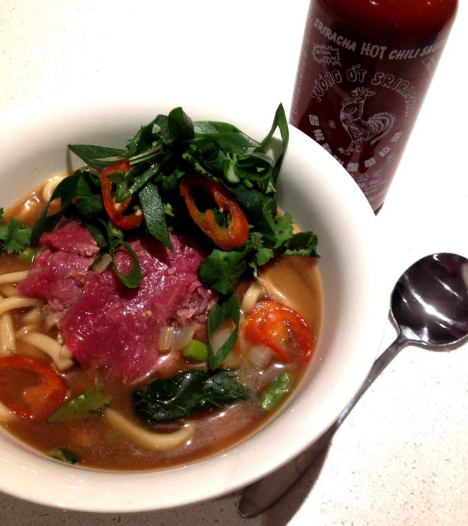 Beef and Miso Udon Soup