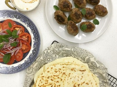 Beef Kofta with Wholemeal flat breads