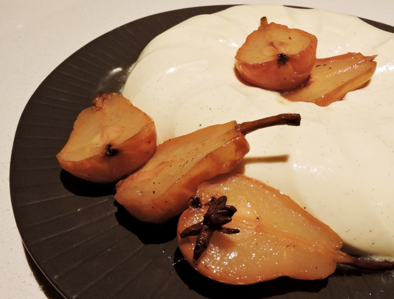 Spiced baked Pears with Buttermilk Panna Cotta