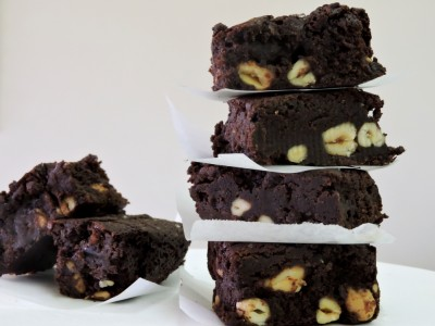 GF Salted Dark Chocolate and Cashew Brownies