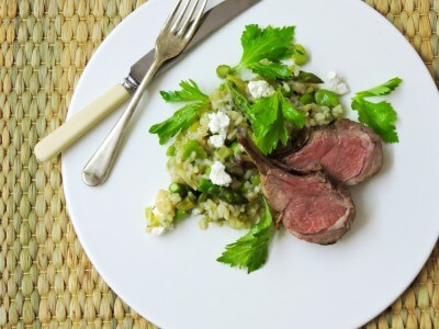 Roasted rack of Lamb with Spring Risotto and Goat Chèvre