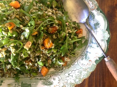 Risotto salad with Salsa Verde, Roasted Pumpkin & Broad Beans