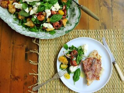 Turkey Saltimbocca with Heirloom Tomato Panzanella salad