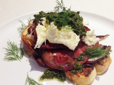 Savoury French Toast with Grilled Radicchio, Pancetta and Salsa Verde