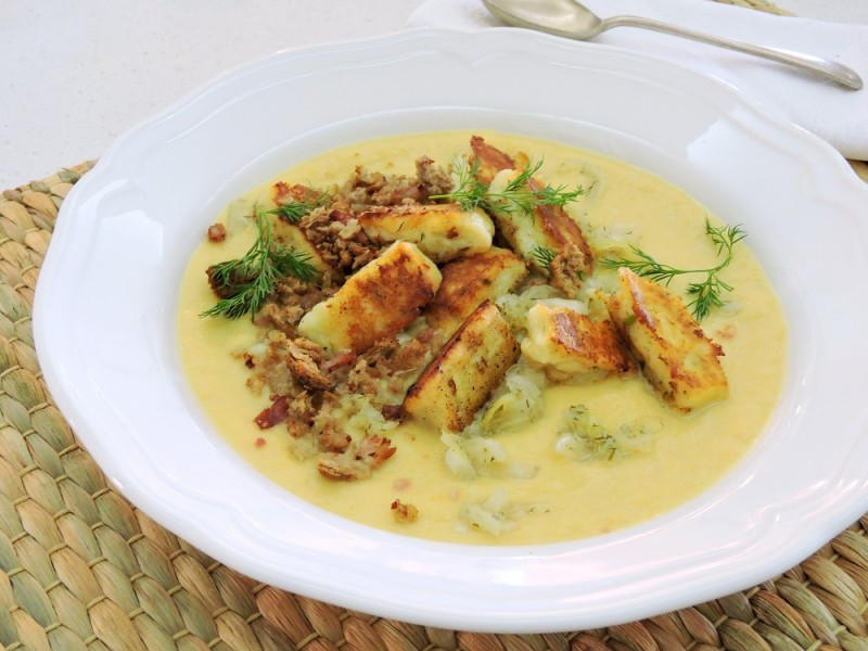 Cheddar, Celeriac & Sauerkraut soup with 3 Cheese Dumplings