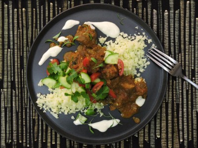 Lamb Rogan Josh with Cauliflower Rice and Tomato Salsa