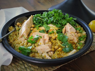 Harissa Salmon and Pearl Couscous Tagine