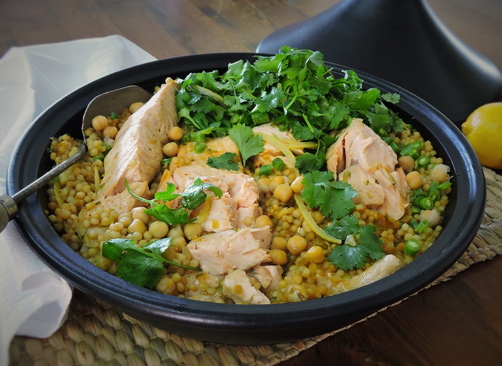 Food According To Bree Harissa Salmon And Pearl Couscous Tagine Food According To Bree