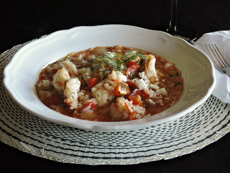 Greek Prawn, Tomato and Fetta Risotto