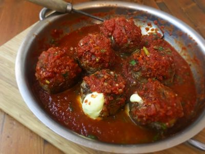 Beef & Bacon stuffed Meatballs with Tomato Basil Sugo