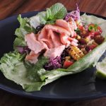 Salmon 'Tacos' with Green Goddess & Chargrilled Corn and Tomato Salsa
