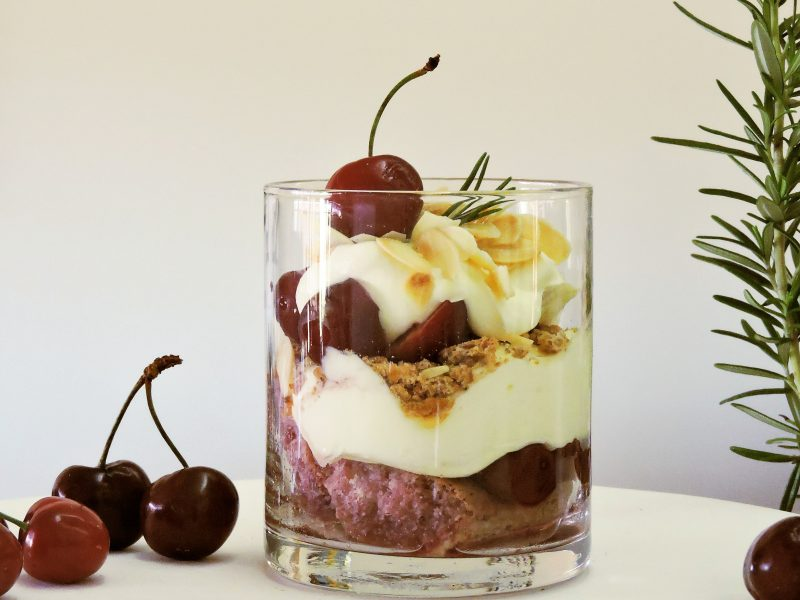 Cherry, Almond and Rosemary Trifle
