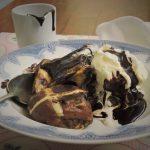 Chocolate Hot Cross Fry-Pan Pudding